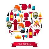 Fond avec les articles de lutte contre l'incendie Équipement de lutte anti-incendie illustration libre de droits