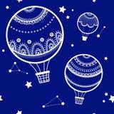 Fond avec les ballons à air chauds Images stock