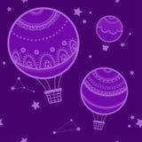 Fond avec les ballons à air chauds Photo libre de droits