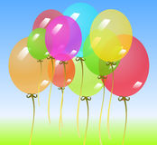 Fond avec les ballons colorés Image stock