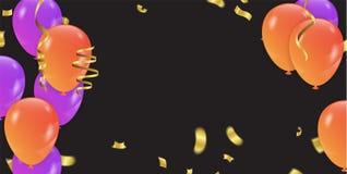 Fond avec les ballons et les confettis pourpres et oranges Vecteur Photographie stock