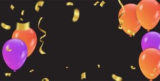 Fond avec les ballons et les confettis pourpres et oranges Vecteur Photos libres de droits