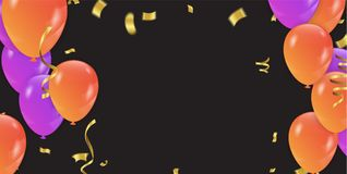 Fond avec les ballons et les confettis pourpres et oranges Vecteur Photos stock