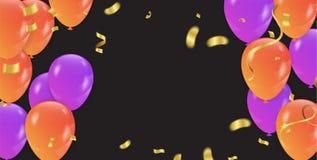 Fond avec les ballons et les confettis pourpres et oranges Vecteur Images stock