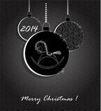 Fond avec les boules et le cheval de Noël Photo stock