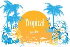 Fond avec les centrales tropicales illustration libre de droits