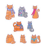 Fond avec les chats heureux Image stock