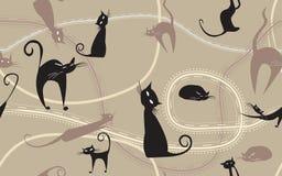 Fond avec les chats noirs Image libre de droits