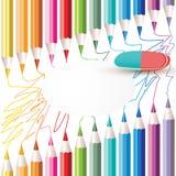 Fond avec les crayons colorés Photos libres de droits