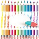 Fond avec les crayons colorés Photographie stock libre de droits