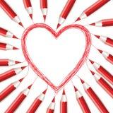 Fond avec les crayons et le coeur rouges Photo libre de droits