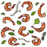 Fond avec les crevettes et les herbes cuites Illustration réaliste de crevette rose de fruits de mer de vecteur Image libre de droits
