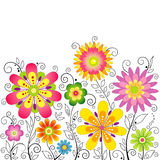 Fond avec les fleurs stylisées Image stock
