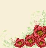 Fond avec les fleurs rouges Photo stock