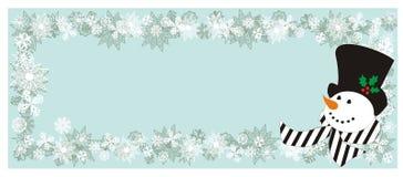 Fond avec les flocons de neige et le bonhomme de neige Photo stock