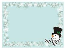 Fond avec les flocons de neige et le bonhomme de neige Image libre de droits