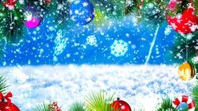 Fond avec les flocons de neige gentils et le rendu 3D moteur de Noël Photo stock