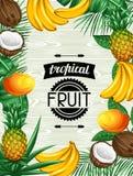 Fond avec les fruits tropicaux et les feuilles Concevez pour faire de la publicité des livrets, labels, emballage, menu illustration de vecteur