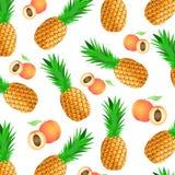Fond avec les fruits tropicaux mûrs - ananas et pêches illustration de vecteur