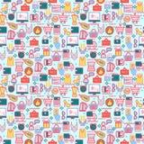Fond avec les icônes colorées d'achats, vente au détail Photographie stock