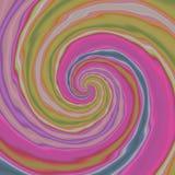 Fond avec les modèles en spirale colorés dans, pourpre, verte et bleue, irrégulière remous de relief par lumière gauchère rose Photo libre de droits