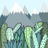 Fond avec les montagnes et l'illustration de vecteur de cactus Photo stock