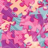 Fond avec les morceaux roses de puzzle denteux Images stock