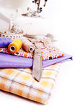 Fond avec les outils de couture Photos stock