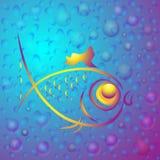 Fond avec les poissons abstraits d'or illustration stock