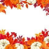 Fond avec les potirons oranges et blancs et les feuilles d'automne colorées Illustration de vecteur Image libre de droits