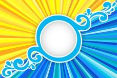 Fond avec les rayons et la mer du soleil Images libres de droits