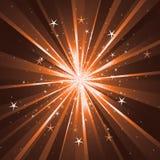 Fond avec les rayons légers et les étoiles Photo libre de droits