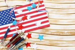 Fond avec les symboles de l'Amérique - célébration du 4 juillet Photographie stock libre de droits