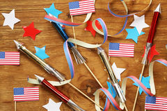 Fond avec les symboles de l'Amérique - célébration du 4 juillet Image stock