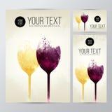 Fond avec les taches et le vin colorés Verres de vin d'illustration Fond expressif de conception Cartes et bannières de promotion illustration de vecteur