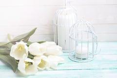 Fond avec les tulipes et les bougies blanches Images stock