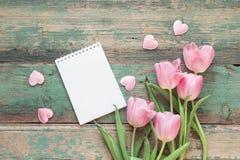 Fond avec les tulipes roses, le bloc-notes vide et les coeurs sur g bleu Photographie stock