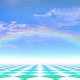 Fond avec un arc-en-ciel Photo stock