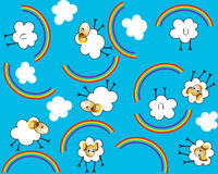 Fond avec un mouton dans un arc-en-ciel illustration stock