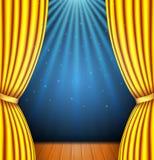 Fond avec un rideau jaune et un projecteur illustration de vecteur