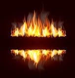 Fond avec une flamme brûlante Photos libres de droits