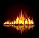 Fond avec une flamme brûlante Image stock