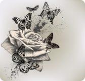 Fond avec voler rose et de papillons. Vecto illustration libre de droits