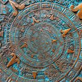 Fond aztèque en spirale classique antique antique en bronze de conception de décoration de modèle d'ornement Backg abstrait de sp Photographie stock