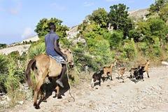 FOND BAPTISTE, HAITI - FEBRUARY 18, 2016:  An unidentified man  Royalty Free Stock Photos