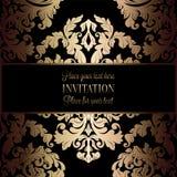 Fond baroque avec l'antiquité, le noir de luxe et le cadre de vintage d'or, bannière de victorian, ornements de papier peint flor illustration stock