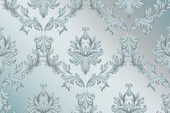 Fond baroque de modèle d'ornement de vecteur Textures bleues de tissu de décor riche fait main de vintage illustration libre de droits
