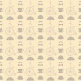 Fond beige sans couture avec de rétros éléments illustration libre de droits