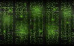 Fond binaire abstrait Code coulant vert Colonnes avec des chiffres sur le contexte foncé Concept entaillé d'écran trendy illustration libre de droits