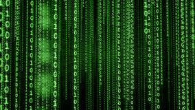 Fond binaire vert de matrice Photos libres de droits